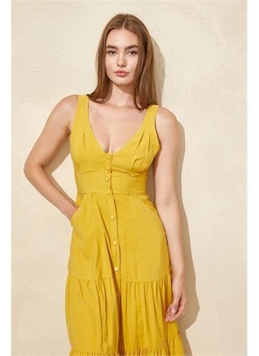Setre Mor Kalın Askılı Midi Elbise Hardal